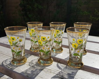 Set of 6 Beautiful Floral Shot Glasses - 1950's Barware - Daisy and Buttercup Design