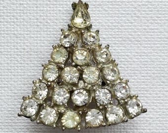 Clear Rhinestone Triangle Brooch, Vintage Silver Tone Pin, Victorian Revival Costume Jewelry