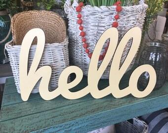 Hello Laser Cut Wood Word, Wood Sign, Living Room Decor, Farmhouse Decor, Home Decor