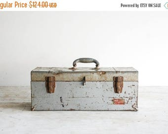 SALE tool box, toolbox, metal tool box, industrial tool box, beautiful bluish-silver with blue interior and blue handle, Union Made, vintage