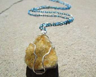 Citrine Crystal Pendant - Natural Citrine Healing Crystal Druse Wire Wrapped in Sterling Silver - Druzy Raw Crystal Necklace