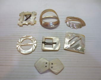 Vintage Mother of Pearl Belt Buckles set of 7 Collector Crafts Jewelry