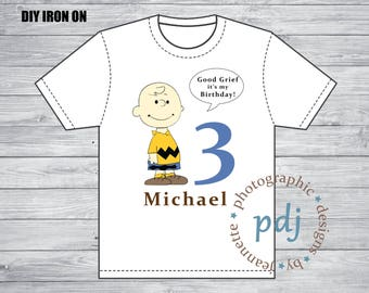 DIY High Resolution File: Personalized Charlie Brown DIY Iron on Design (Perfect for Birthday, Babyshowers, Class Trip, etc.).