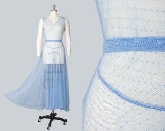 Vintage 1930s Dress | 30s Sheer Net Mesh Polka Dot Light Blue Circle Skirt Maxi Art Deco Evening Gown (xs/small)