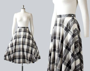Vintage 1950s Style Circle Skirt | 80s Cotton Plaid Black White Full Swing Skirt with Pockets (small)