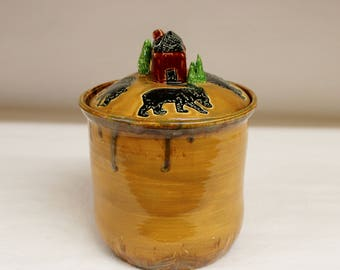 Cabin in the Woods Black Bear Cookie Jar, Kitchen Canister