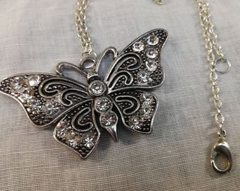 Antique silver Butterfly pendant long or short necklace, jewelery, nickel free of class