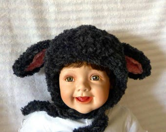 Black Sheep, Lamb costume hat. With big, floppy ears, this lamb hat comes in sizes Newborn to Adult.