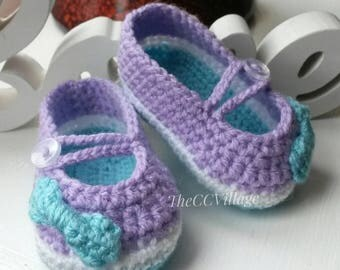 Colorful crochet baby girl shoes with a nice bow, Newborn Ballerina Shoes, Slippers