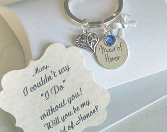 Maid of Honor Ask, Bridesmaid Gift, Bridesmaid Proposal, Tie The Knot, Bridesmaid Ask, Will You Be My Bridesmaid, Keychain, Charm TINY