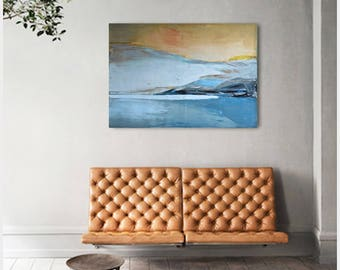 """Oil painting, canvas art, stretched, """"Lake 26"""". Size 39,4/ 27,6 inches (100/70cm) Free shipping"""