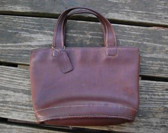 Coach Leather Top Handle Purse Handbag No. F9C-9301 - Vintage Coach Dark Brown Leather Top Handle Bag