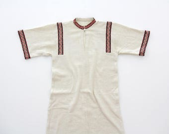 Vintage Dress // 60's Off White Embroidery Dress // Handmade Woven Cotton Dress // Boho Summer Dress