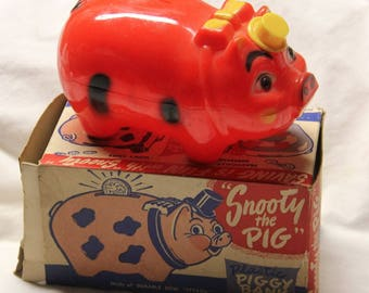 "Vintage plastic ""Snooty the Pig"" piggy bank, with original box. Great Condition!"