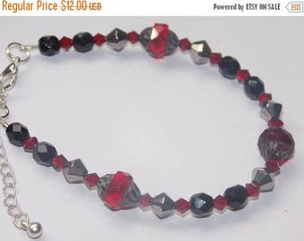 15%OFF Red  Picasso Glass Black Czech Glass Silver Crystal Red Crystal Bracelet