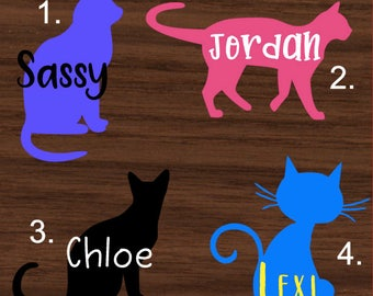 Personalized Cat Decal with Name | Personalized Cat Yeti Decal | Personalized Cat RTIC Decal | Personalized Car Decal | Customized Decal