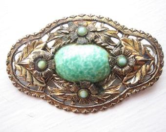 Vintage Czech brooch, peking glass brooch, Czech glass brooch, green glass, bronze floral, leaf and flower, Czech green pin