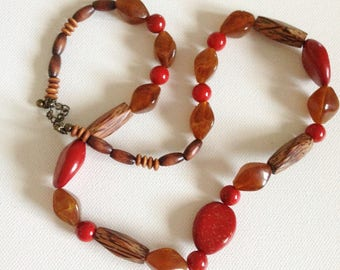 Wood and plastic Necklace - red plastic and wooden bead necklace retro design