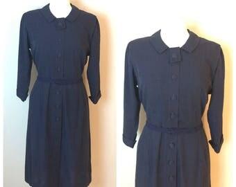 Vintage 50's navy blue Secretary Shift Dress