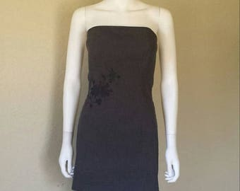 ON SALE Floral embroidered strapless grey dress