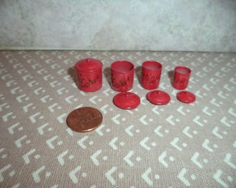 1:12 Dollhouse miniature red metal canister set