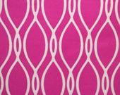 "Hot Pink White Geometric Print #605 4 Way Stretch Swimwear Activewear Cosplay Nylon Spandex Lycra Craft Fabric 58""-60"" Wide By The Yard"