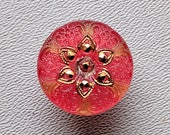 CZECH GLASS BUTTON: 18mm Handpainted Czech Glass Filigree Starflower Button, Pendant, Cabochon (1)