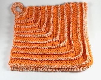 Orange Ribbed Dishcloth
