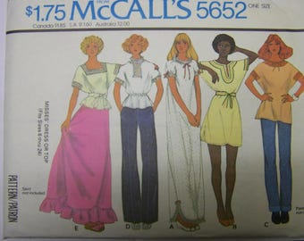 RARE UNCUT Vintage 1970s McCall's 5652 CAFTAN Dress or Top Pattern - One Size Fits All