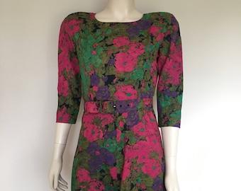 Vintage 90s dress / 50s style dress / floral prom dress / boho 90s dress / 90s fit and flare dress / vintage skater dress / petite dress /