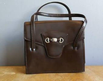 70s handbag // brown top handled bag //petite faux leather purse // mod brown bag // hand held bag // retro bag