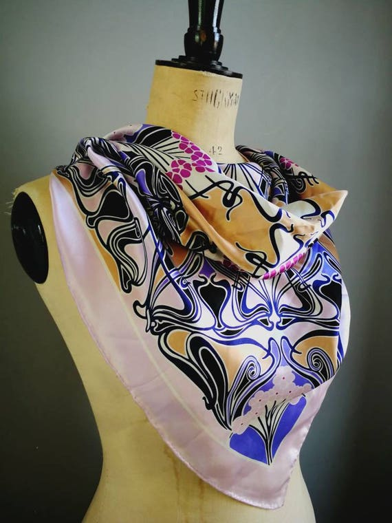 90s art nouveaux silk scarf / pink purple silk square scarf / 90s silk scarf / boho retro scarf / gift for her / vintage scarf