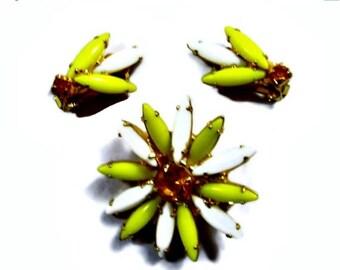 ON SALE Navette Glass Brooch Earrings Set Yellow White