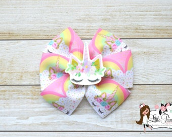 Unicorn Hair Bow, Unicorn Pinwheel, Unicorn, Unicorn Bow