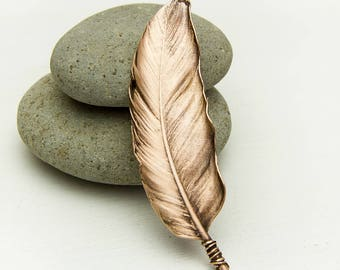 Copper brooch Feather brooch Metal Feather Nature jewelry Real Feather brooch Feather Pin Copper nature jewelry Gift for her Gift for mom