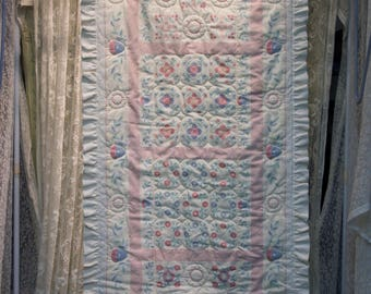 """Vintage Pink Print Runner Hand Quilted, 19"""" X 44"""""""