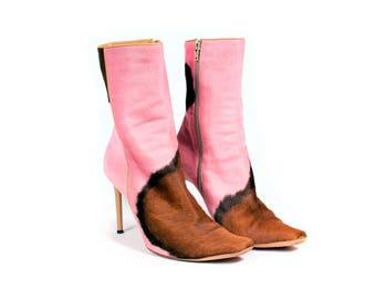 Pink and Brown Cow Print Booties