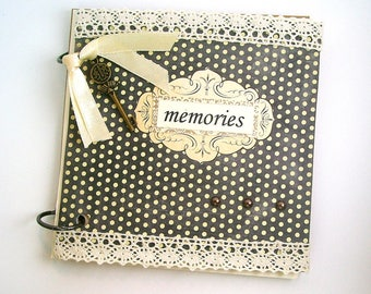 Shabby chic album, Memory book, Memories album, Vintage handmade, Small journal, Brown & cream, Decorated pages, Parisian flair, Expandable