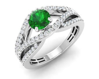 Certified Emerald Ring | Unique Emerald Engagement Ring | Natural AAA Emerald With SI Diamond | Gift For Womens | Diamond Engagement Ring