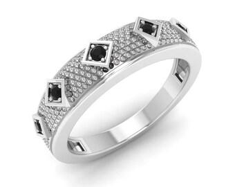 Vintage Ring Gold | Black Diamond Wedding Ring | Stunning Ring | Black Diamond Anniversary Gift | Diamond Eternity Ring | Gold Ring