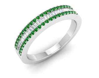 Eternity Band Emerald, Natural Emerald With VS Diamond Wedding Ring, Eternity Ring, 14K Gold Anniversary Ring, Eternity Band White Gold