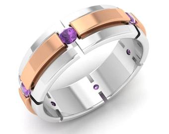 Amethyst Mens Engagement Ring | Amethyst Ring | Mens Wedding Ring | Mens Anniversary Ring | Mens Gold Ring | Mens Two Tone Ring