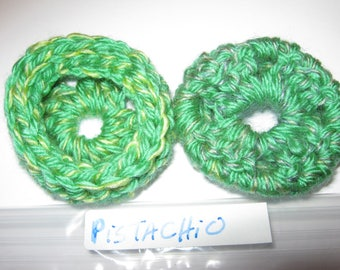 PISTACHIO Ear Cushions/Pads/Cookies. Hand Crochetted. New.