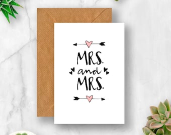 Mrs & Mrs Arrow Hearts Wedding Card, Mrs and Mrs Card, Lesbian Wedding Card, Card for Wedding, Card for Lesbian Wedding