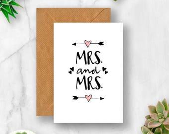 Mrs & Mrs Arrow Hearts Wedding Card, Mrs and Mrs Card, Lesbian Wedding Card, Card for Wedding, Card for Lesbian Wedding