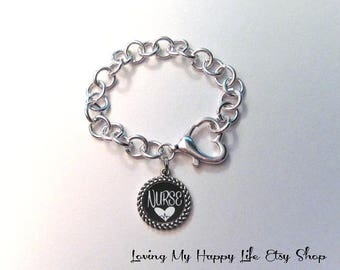 NURSE Charm BRACELET, silver, cable chain, heart clasp, pendant, personalized, customized, any occupation