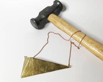 Triangle brass necklace pendant