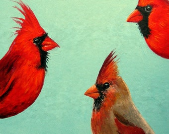 Redbirds original painting male and female cardinals bird paintings cardinal paintings