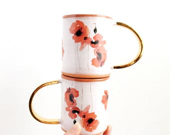 Ceramic Floral Mug with Gold Handle