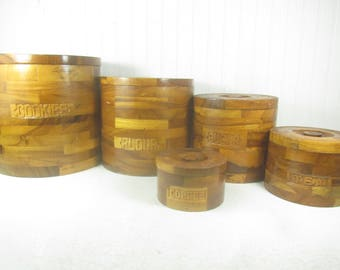 Vintage wood canisters, farmhouse kitchen, nesting canister set, stacking canisters,storage,cookies flour sugar tea coffee,